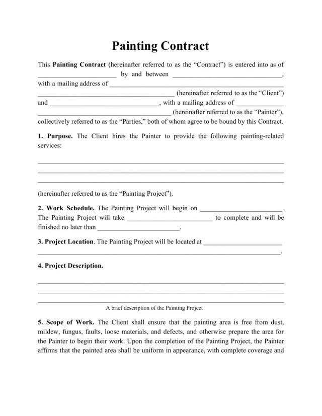 Painting Contract Template Download Printable PDF  Templateroller