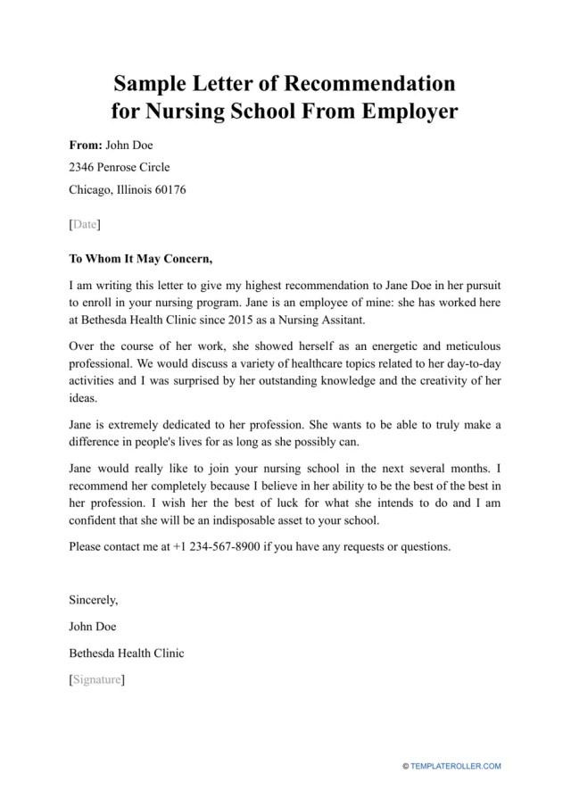 Sample Letter of Recommendation for Nursing School From Employer