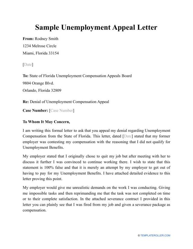 Sample Unemployment Appeal Letter Download Printable PDF