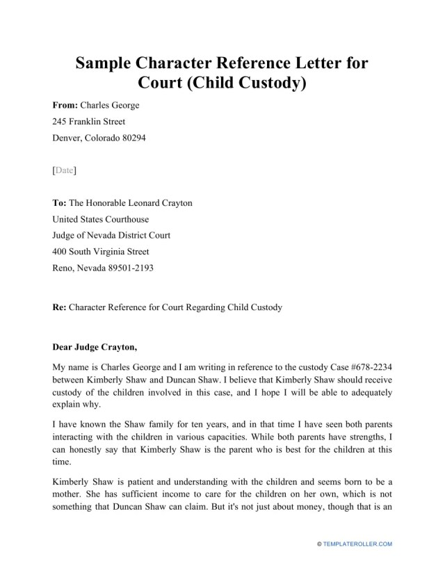 Sample Character Reference Letter for Court (Child Custody