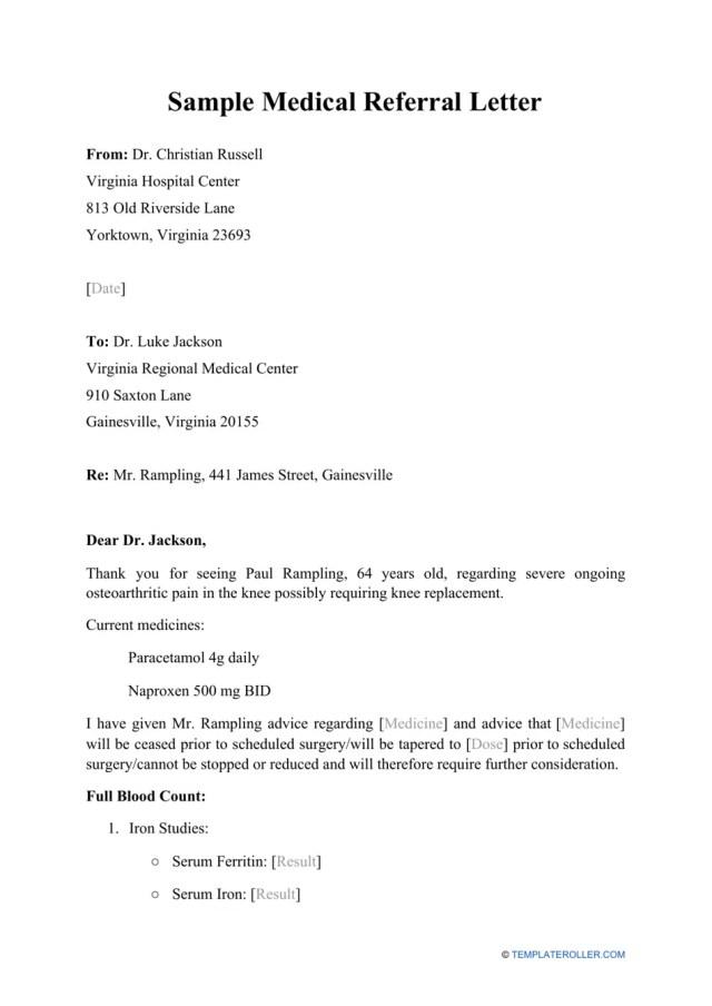 Sample Medical Referral Letter Download Printable PDF  Templateroller