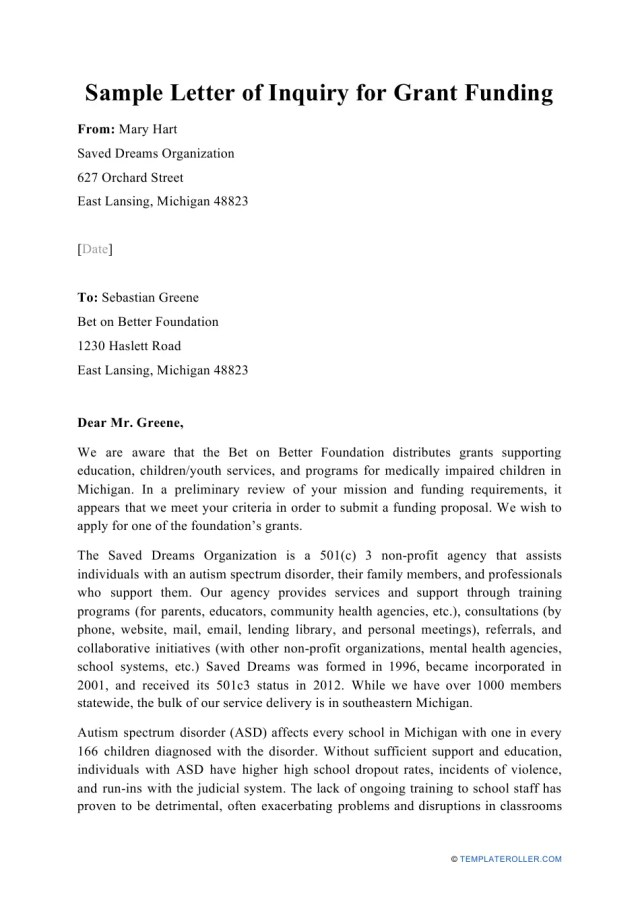 Sample Letter of Inquiry for Grant Funding Download Printable PDF