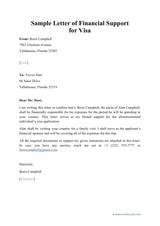 Sample Letter of Financial Support for Visa Download Printable PDF