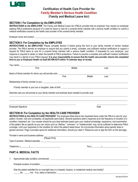 Certification Of Health Care Provider Form For Family