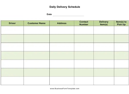 Daily Delivery Schedule Template Download Printable Pdf