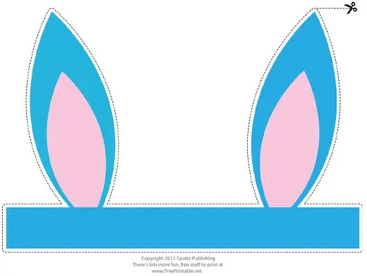 Foldable Turquoise Easter Bunny Ears Template Download Printable Pdf Templateroller