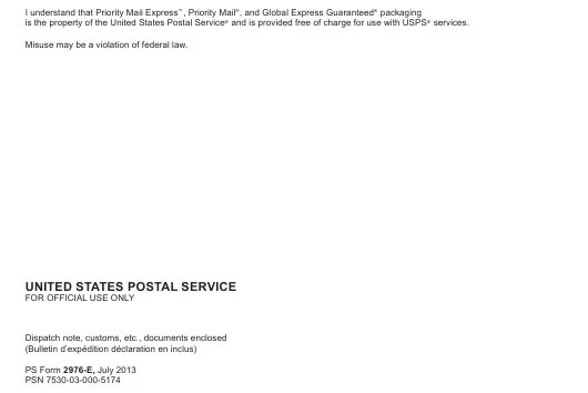 Ps Form 2976 E Download Printable Pdf Or Fill Online Customs