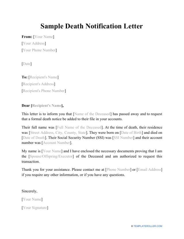Sample Death Notification Letter Download Printable PDF