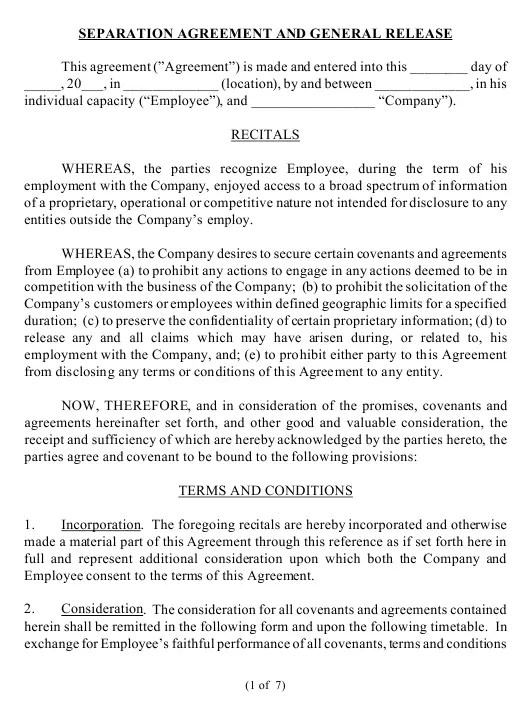 Separation Agreement And General Release Template Download