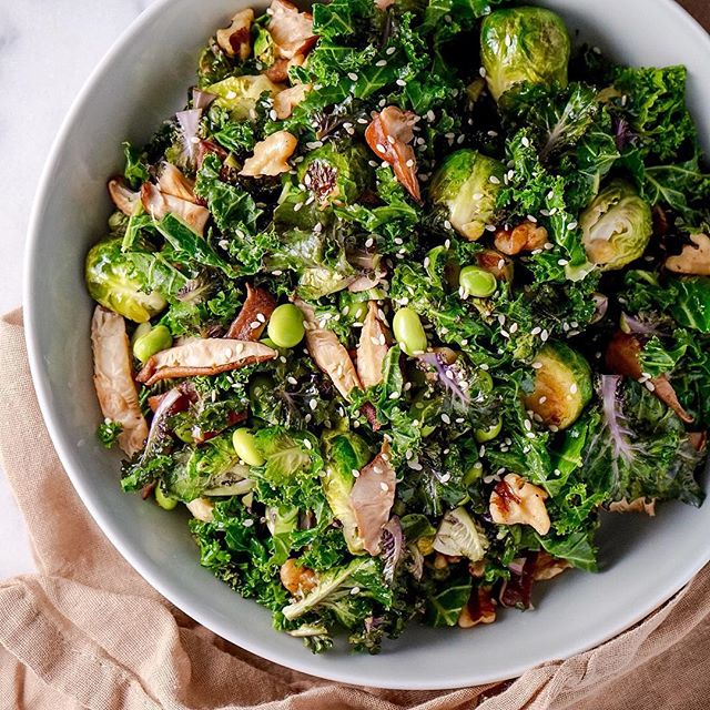Kale Salad Sprouts And Mushrooms