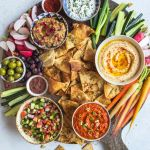 Middle Eastern Inspired Layer Dip With Hummus Muhammara Baba Ganoush Herbed Labneh And Shirazi Salad By Mollyjean4 Quick Easy Recipe The Feedfeed