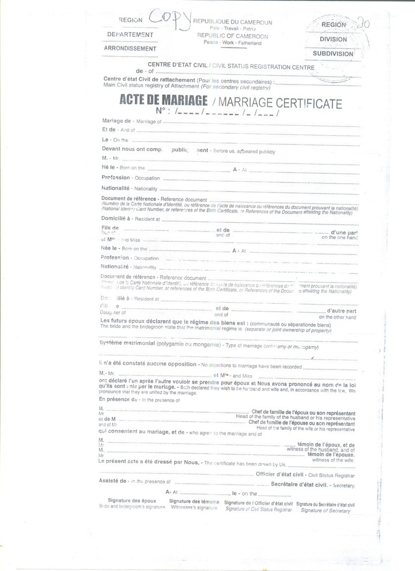 Crvs Birth Marriage And Death Registration In Cameroon
