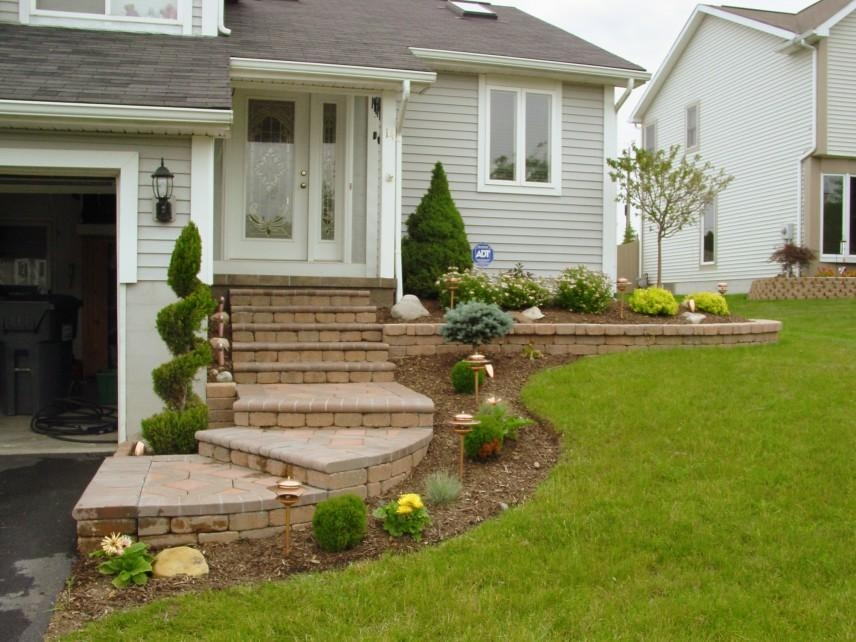Landscaping The White And Big House With The Long And Beautiful | Front Step Design For House | Half Round | House Indian | Back Door Step | House Kerala | Circular Step