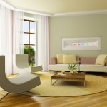 Minimalist Living Room In Neutral Colors With Soft Green