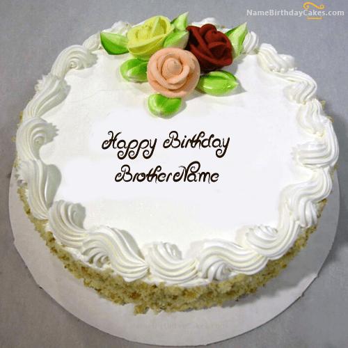 Write Name On Vanilla Birthday Cake For Brother Happy Birthday Wishes