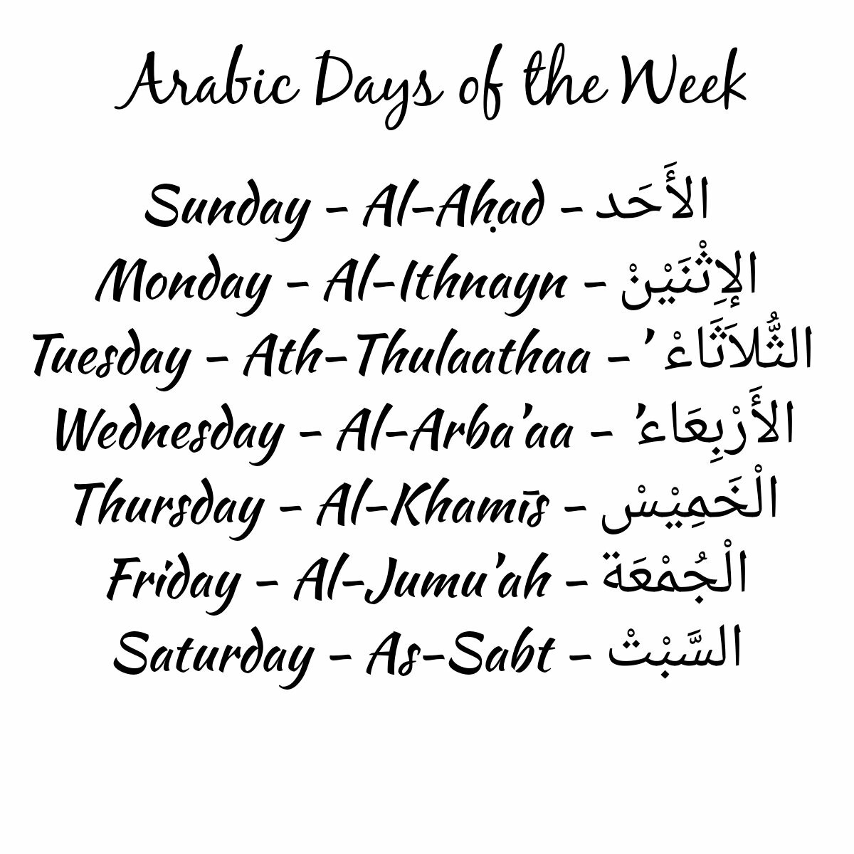 Arabic Days Discovered By Sami On We Heart It
