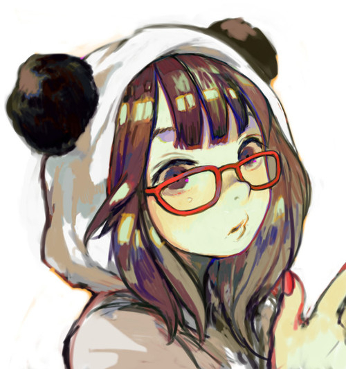 anime, girl, panda suit, glasses - inspiring picture on Favim.com