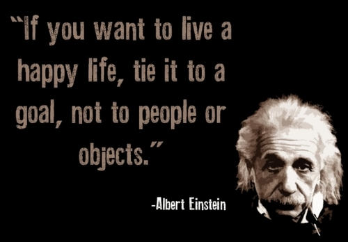 If you want to spend a happy life, tie it to a goal, not to people or objects. ~ Albert Einstein quote