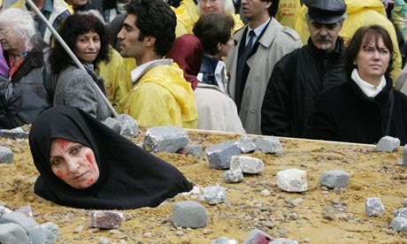 An Iranian woman protesting over death by stoning in Brussels