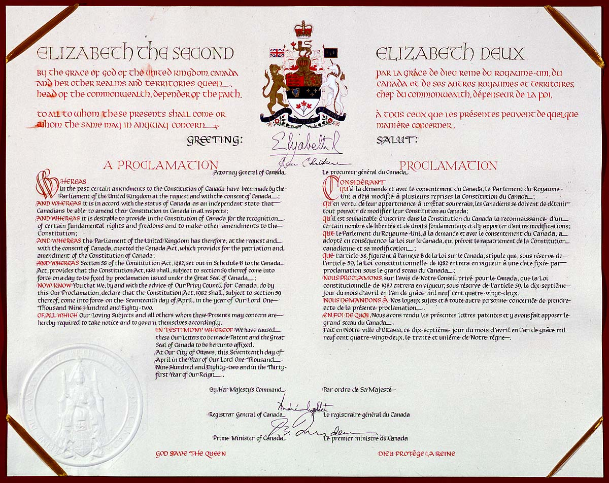 Proclamation of the Constitution Act