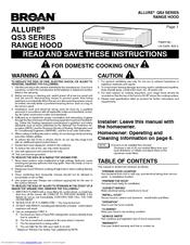 Broan Allure Qs3 Instructions Manual Pdf Download Manualslib