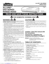 Broan Allure Qs2 Series Instruction Manual Pdf Download Manualslib