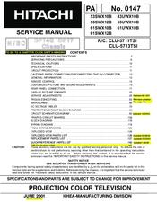 Hitachi UltraVision UWX Series 43UWX10B Manuals
