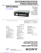 Sony CDXGT500US Manuals