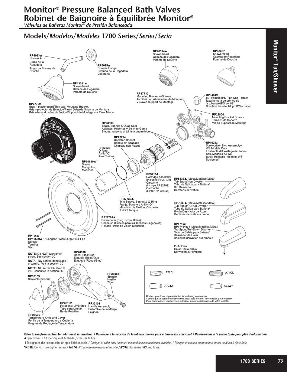 delta monitor 1700 series parts manual