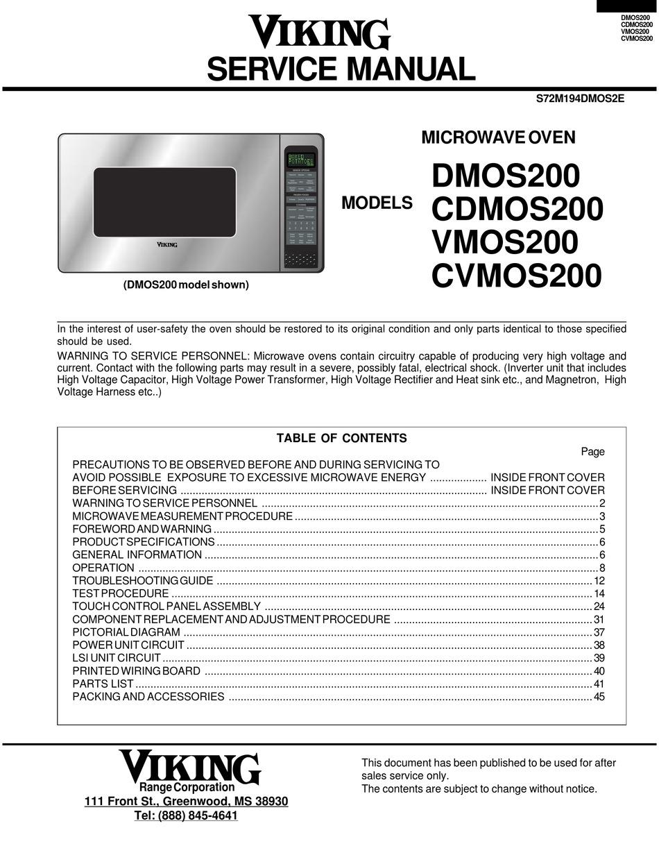 viking vmos200 service manual pdf