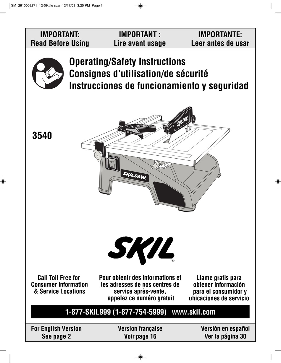 skil 3540 operating safety instructions