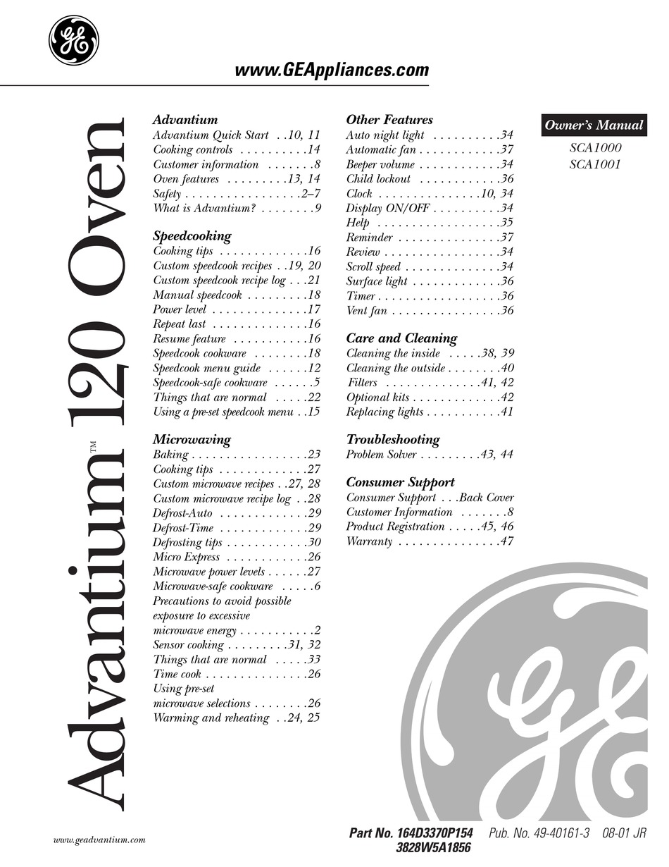 ge sca1000 owner s manual pdf download