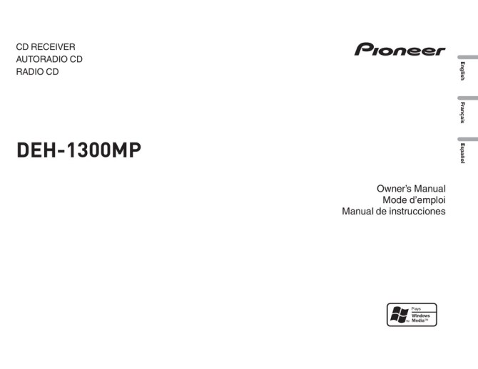 pioneer deh1300mp owner's manual pdf download