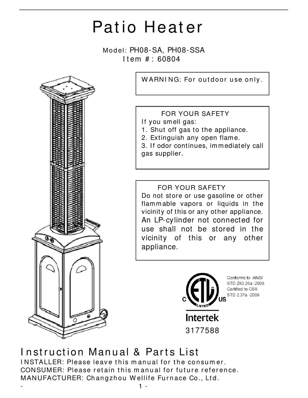 fire sense ph08 sa instruction manual