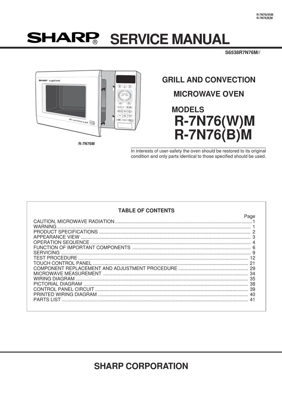 sharp r 7n76 b m service manual pdf
