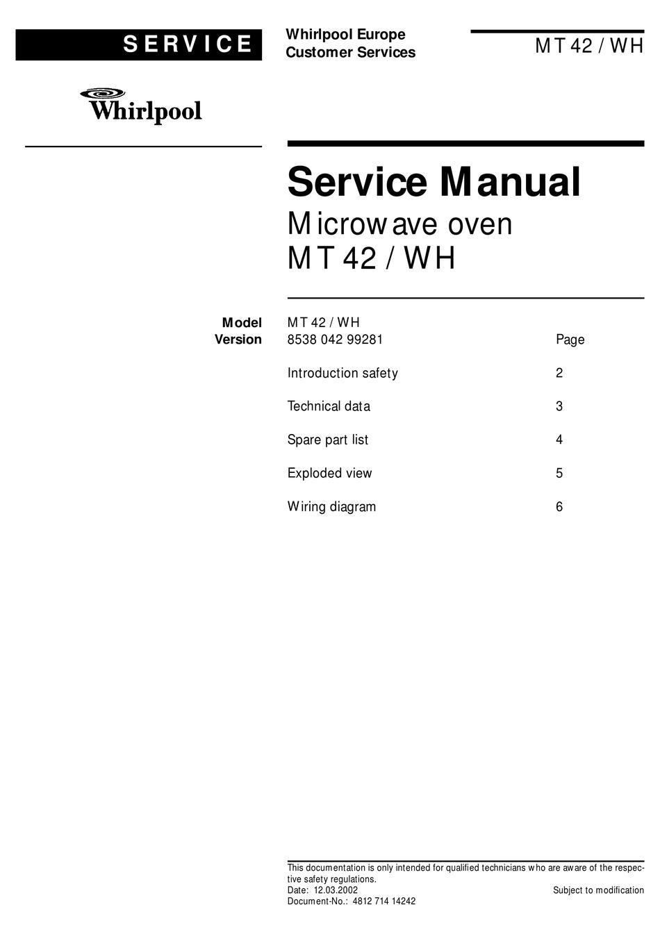 whirlpool mt 42 wh service manual pdf