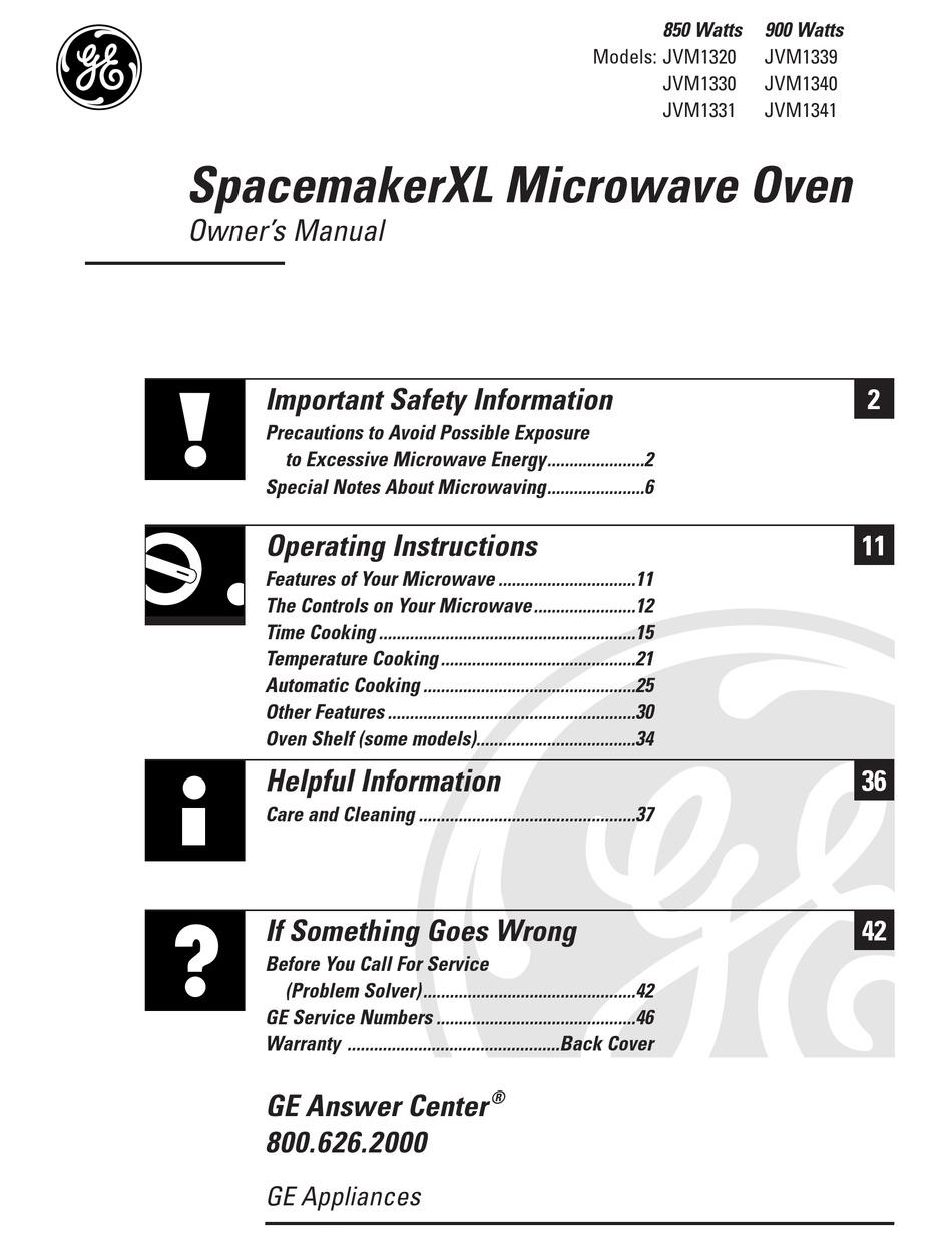 ge spacemakerxl jvm1320 owner s manual