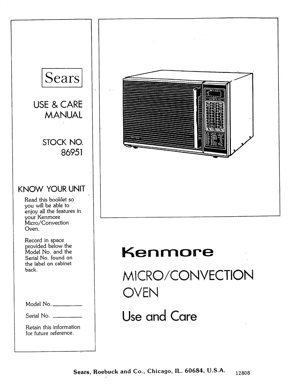 kenmore microwave oven use and care