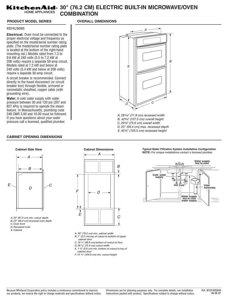 kitchenaid kehu309s datasheet pdf