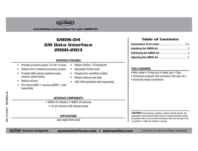 axxess gmos04 installation instructions manual pdf download