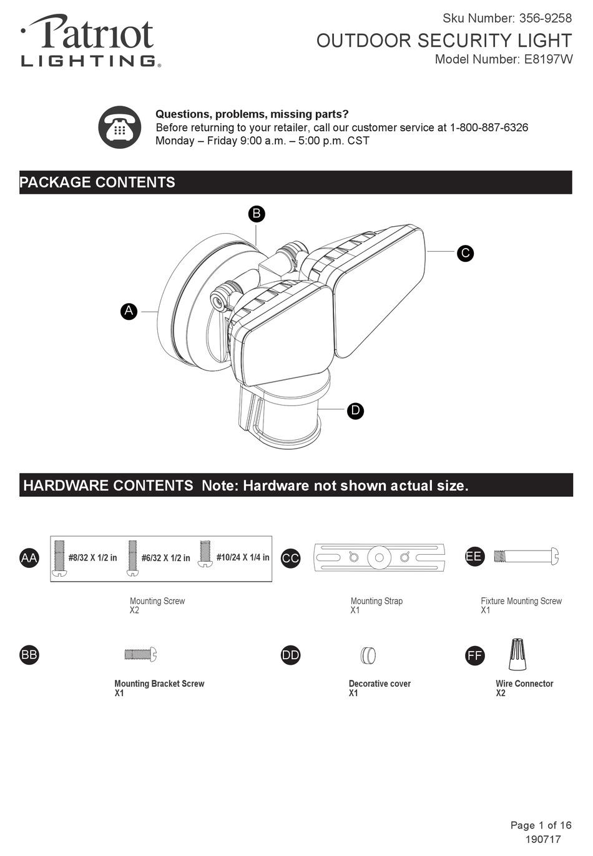 patriot lighting e8197w user manual pdf