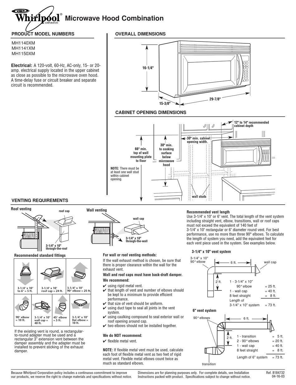 whirlpool mh1150xmb dimensions pdf