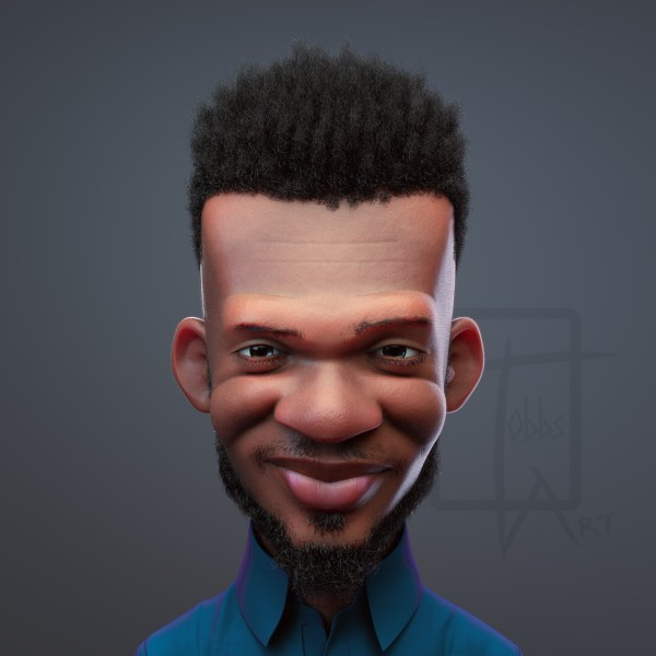 3D sculpt of Ghanaian music producer and tech personality Kobby Spiky Nkrumah by Bertil Toby Svanekiaer