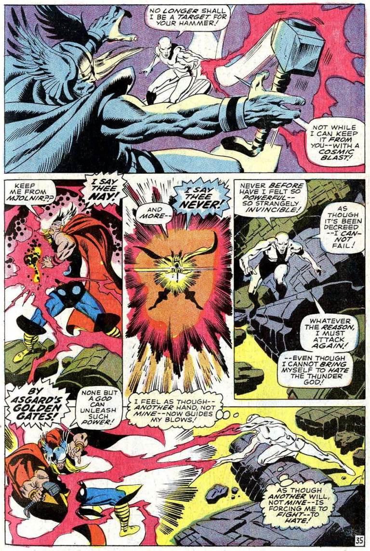 Silver Surfer's cosmic blast keeps Mjolnir away from Thor.