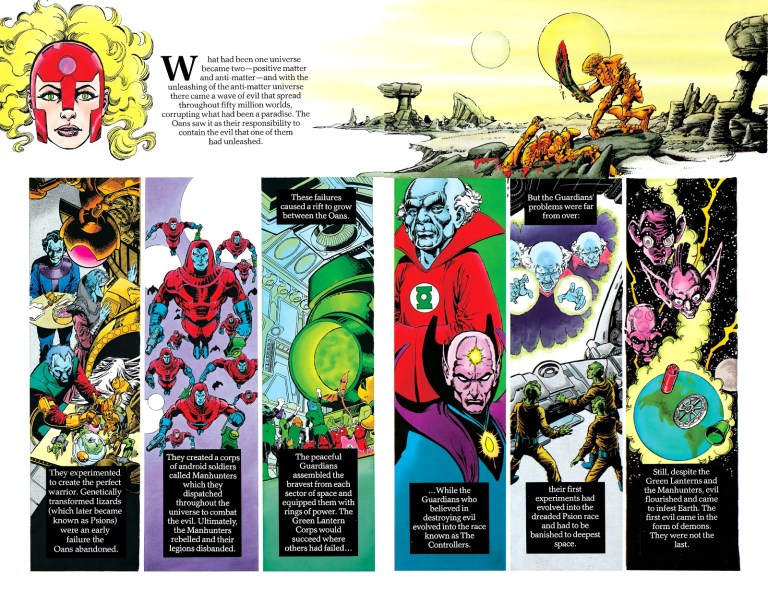 """In 'History of the DC Universe' #1, the Manhunters rebelled and """"their legions disbanded""""."""