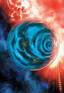 """A blue Krypton in space from """"The Man of Steel"""" storyline."""