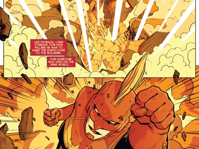In 'Captain Marvel #6' (2014), Captain Marvel punches out Vibranium mines on the planet Torfa to repel a Spartax invasion.