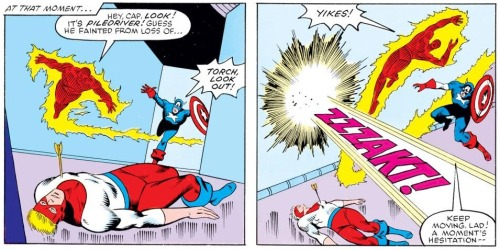In 'Marvel Superheroes Secret Wars' #8, the Human Torch and Captain America face Ultron.