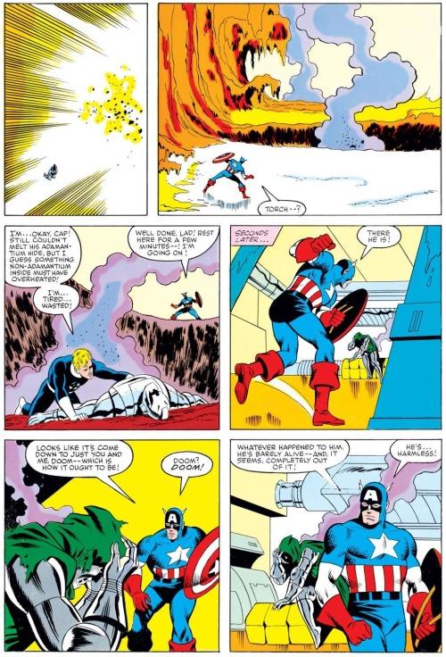 In 'Marvel Superheroes Secret Wars' #8, Captain America survives Ultron's nova flame.