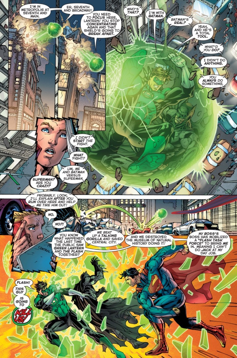 In 'Justice League #2' (2011), Superman breaks Green Lantern's Oan light construct with a punch, stunning Green Lantern and Batman.